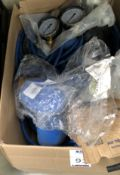 Assorted PVC Pipe Sealing & Testing Bag & two 16Bar Pressure Gauges (Location: Brentwood. Please