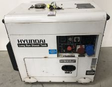 Hyundai DHY6000SELR Diesel Generator (2016), Serial Number 201605 4.5/5.2kw (Location: Brentwood.