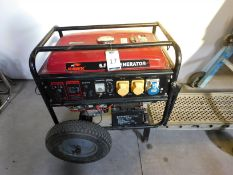 Hawk 6.5KW Generator, Serial Number 18070430206 with 15HP LT1 Petrol Engine (Location: Brentwood.