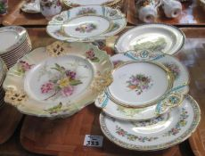 Tray of assorted china to include; a Carlton Ware floral comport, another porcelain floral comport