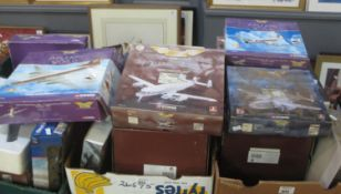 Three trays and one box of military and other airplanes, model kit built, Corgi The Aviation Archive