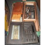 Box of vintage instruments, to include many micrometers, some in original boxes, other measuring