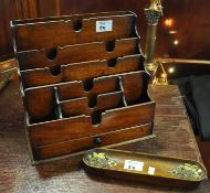 Early 20th Century mahogany desk top letter rack with under drawer, together with a Victorian gilt