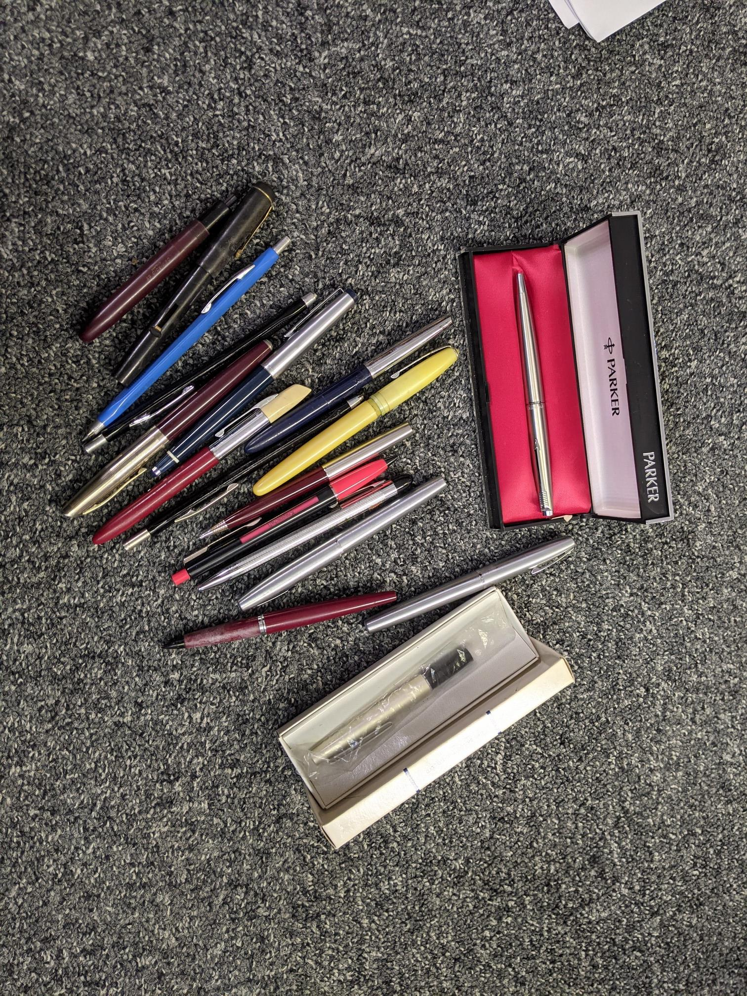 Box of assorted pens and similar ephemera to include; Parker, Sheaffer ball point refills, - Image 2 of 2