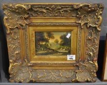 Heavily framed reproduction over painted print, 18th Century landscape, gilt foliate frame and slip.