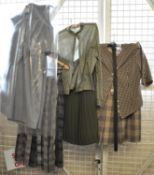 Small collection of ladies vintage clothing to include; a spotty cotton Jaeger shirt, a pleated