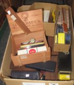 Box of assorted pens and similar ephemera to include; Parker, Sheaffer ball point refills,