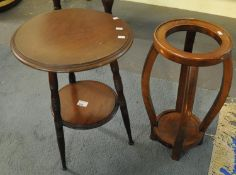 Small mahogany circular Gypsy type table, together with a teak plant stand. (B.P. 21% + VAT) table