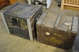 Two similar painted ammunition boxes. (2) (B.P. 21% + VAT)