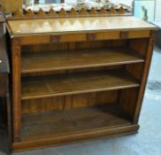 Early 20th Century oak fall front bureau with under tier, together with an oak gothic design free