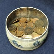 Small circular tin of assorted mainly British copper coins. (B.P. 21% + VAT)