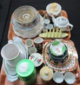Two trays of assorted china to include: three late 19th/early 20th Century Pillivuyt of France