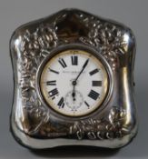 Mappin & Webb Ltd 8 day Goliath silver plated pocket watch in silver easel picture frame with