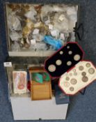Two box files containing assorted GB and other coinage, bank notes etc. (B.P. 21% + VAT)