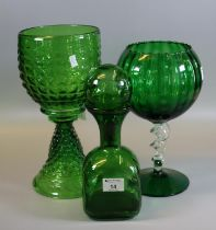 Collection of three green glass items to include; cube shaped decanter and two pedestal bowls, one