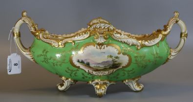 Early 20th Century Coalport 'Hampton' boat shaped two handled centre bowl with painted landscape and
