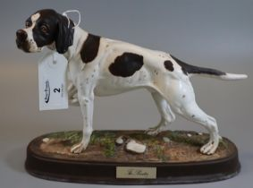 Royal Doulton 'The Pointer' figurine of a dog on oval naturalistic base with plaque and black