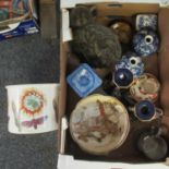 Box of assorted china to include; two blue and white crane and cloud design vases, Mason's