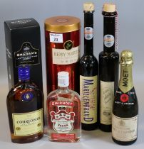Collection of alcoholic spirits to include; Remy Martin fine champagne cognac in original tin box,