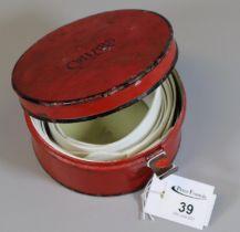 Vintage tin collar box the interior revealing assorted collars. (B.P. 21% + VAT)