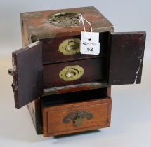 Chinese hardwood miniature table top cabinet with brass recessed handles and fitted drawers. (B.P.