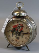 Mid Century Nurnberg German chrome plated alarm clock with compressed bell top, transfer printed