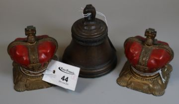 A pair of Elizabeth II Coronation money boxes in the form of crowns, together with 'The Mary Rose