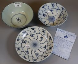 The Treasure of Tek Sing blue and white items to include; a shallow dish and two bowls, all in