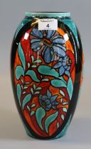 Modern Poole pottery studio vase of ovoid form, 'Flowers in the window', signed N Massarella, in