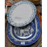 Two large meat plates: one blue and white willow pattern meat plate and one daisy pattern grey/