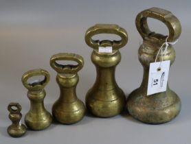 Set of five graduated bell shaped brass weights. (B.P. 21% + VAT)