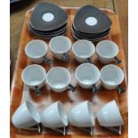 Twelve small Thun Studio Czechoslovakian coffee cups and saucers in brown and white with silver
