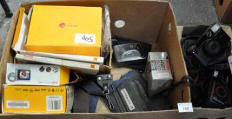 Box of photographic equipment including: a Pentax SPO Espio 135m camera, a Cosina compact 35S