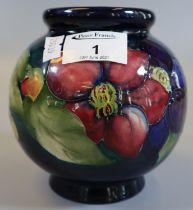 Mid Century Moorcroft art pottery anemone vase of globular form, impressed and painted marks with