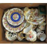 Box of mostly assorted china to include; Hammersley English bone china 'Lady Patricia' floral design