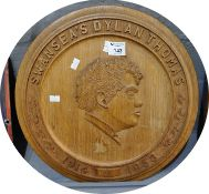 'Swansea's Dylan Thomas' 1914 - 1953 commemorative oak carved plaque with impressed date to the