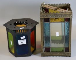 Victorian style stained glass and leaded four panelled hanging lantern light shade, together with