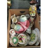 Box of mixed china to include; two floral design lustre vases and a matching basket by Maling,