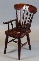 Possibly apprentice piece mahogany slat back open arm kitchen farmhouse chair, 19th Century