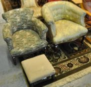 Early 20th Century upholstered floral and foliate tub chair, together with another tub type