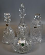 Four good quality cut glass decanters and stoppers of mallet shaped, square form etc, to include;