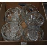 Box of good quality lead crystal, cut glass: four large lead crystal, cut glass bowls, a lead