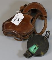 A 19th Century prismatic compass by J. Hicks, 8 Hatton Gardens, London, in original leather case. (