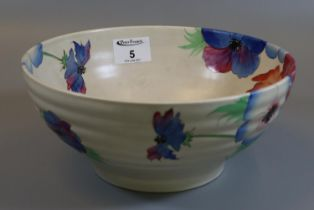 Clarice Cliff Newport pottery anemone ribbed bowl, shape no. 633. (B.P. 21% + VAT)