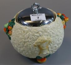 Clarice Cliff Newport pottery 'Celtic Harvest' design 62A lidded and plated sucrier. (B.P. 21% +