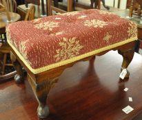 Mid century upholstered foot stool on cabriole legs. (B.P. 21% + VAT)