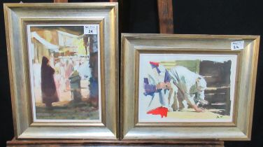 David Randall Davies (20th Century Welsh), 'Market Cleaner (Awswan)' and 'In the Bazaar', two