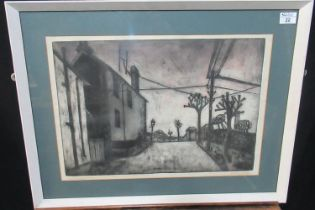 George Chapman (20th Century Welsh), a Valleys street scene, signed in pencil, monochrome etching.