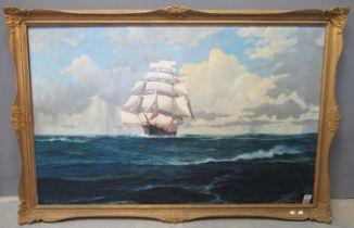 E Hall (20th Century British), manner of Montague Dawson, clipper ship under full sail running