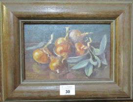 Elizabeth Williams (20th Century Welsh), 'Six Shallots and Sage', signed, oils on board, 15 x 23cm